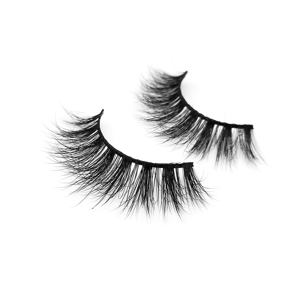 Wholesale Price Matte Black 3D Real Mink Fur Strip Lashes with Private Label  UK USA YY53